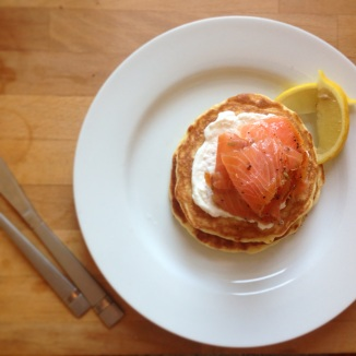 Fluffy Buttermilk Pancakes with Smoked Salmon and Lemon Yoghurt