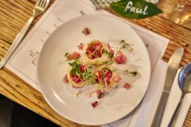 Pani puri, rhubarb salsa, green yoghurt chutney (Photo credit: Paul Monckton)