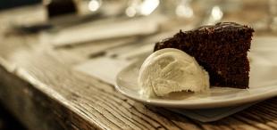 Chocolate torte, blood orange curd, goats milk ice cream (Photo credit: Paul Monckton)