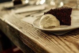 Chocolate torte, blood orange curd, goats milk ice cream (Photo credit: Paul Monckton)